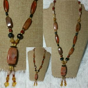 Vintage Amber, Lucite&Marble Signed PBead Necklace